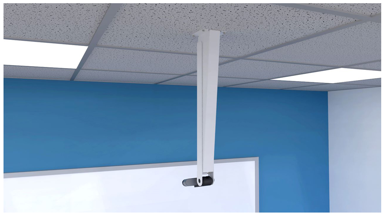 Image of a brio camera in a ceiling mount pointed at a white board